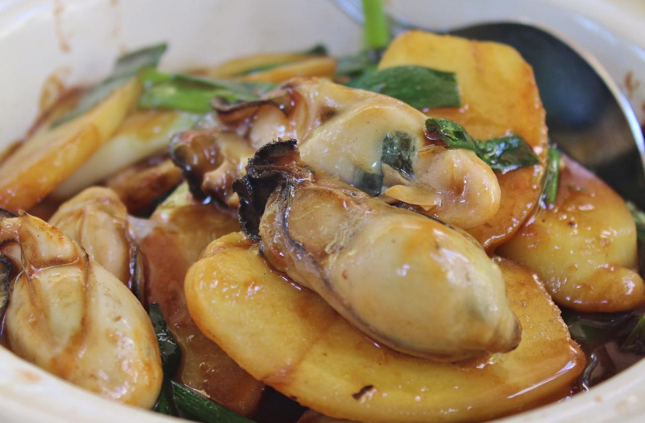 Austern mit Zwiebeln und Ingwer