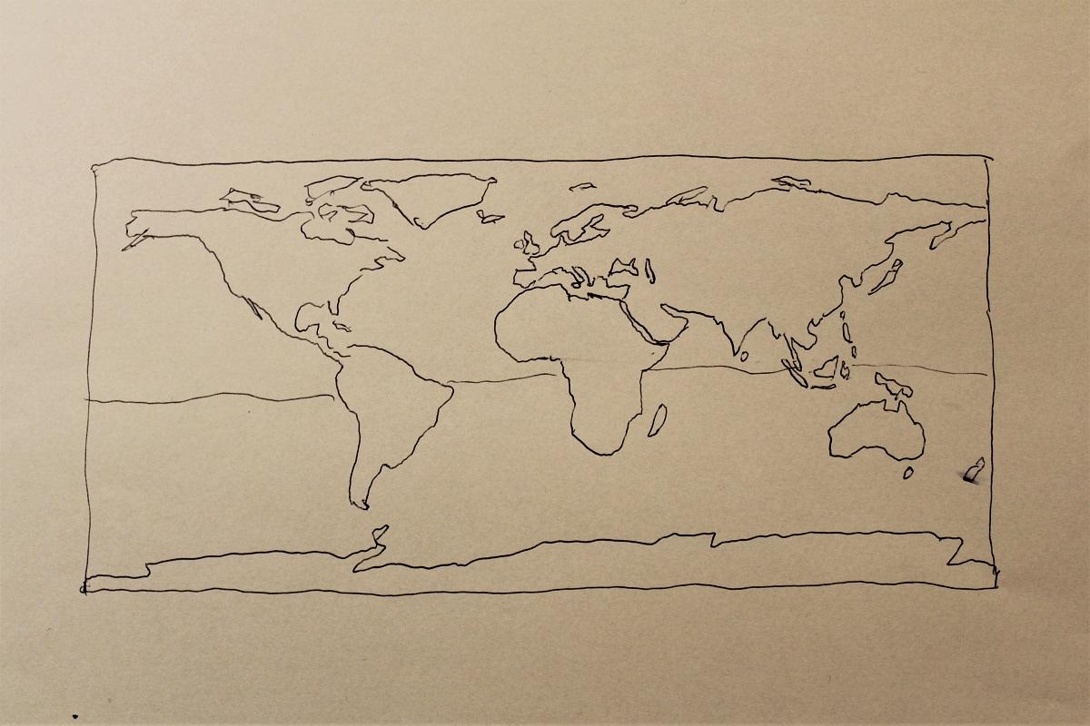 Karte Weltkarte Lambert Flächen