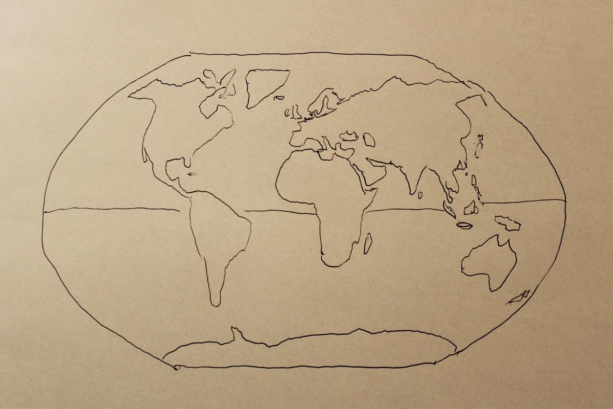 Karte Weltkarte harmonisch Winkel