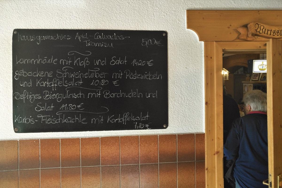 Speisekarte Wiethaler Schiefertafel