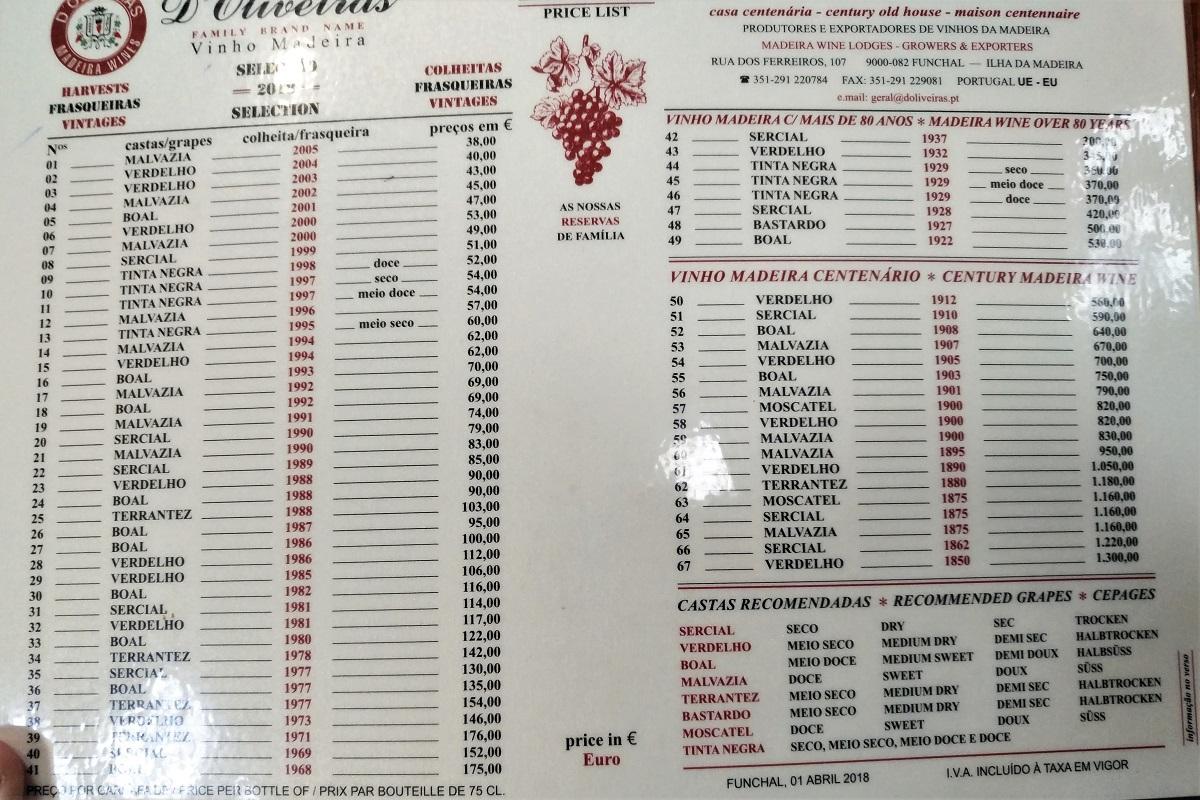 d'Oliveiras Madeira Preisliste