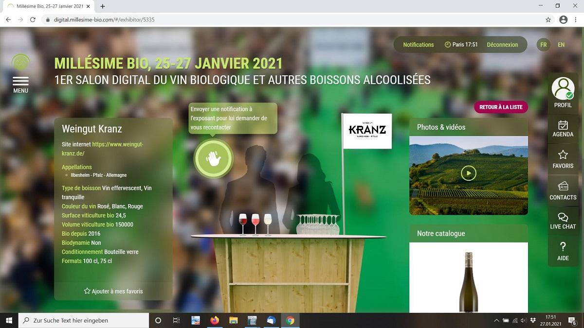 Kranz Weinmesse Millésime digital 2021