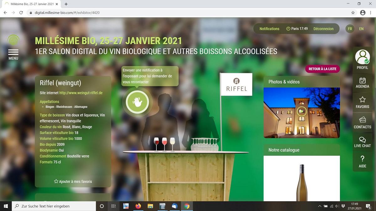 Riffel Weinmesse Millésime digital 2021