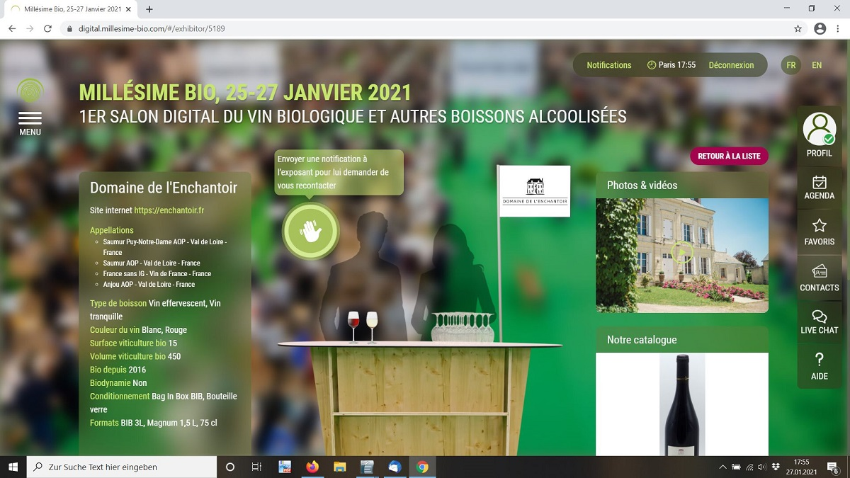 Enchantoir Weinmesse Millésime digital 2021